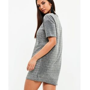 Missguided over sized metallic T-shirt dress